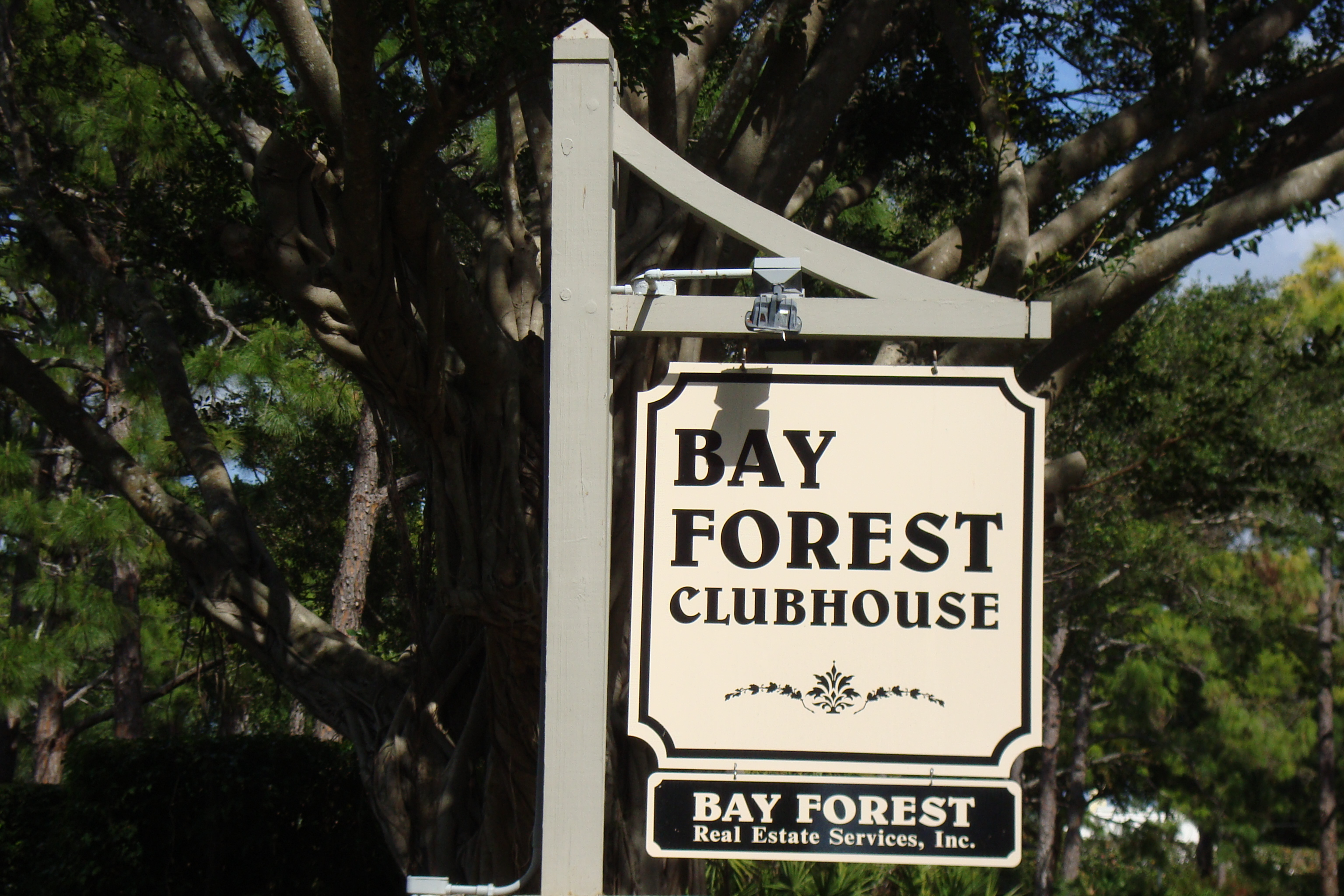 Sign for Bay Forest in Naples, Florida.