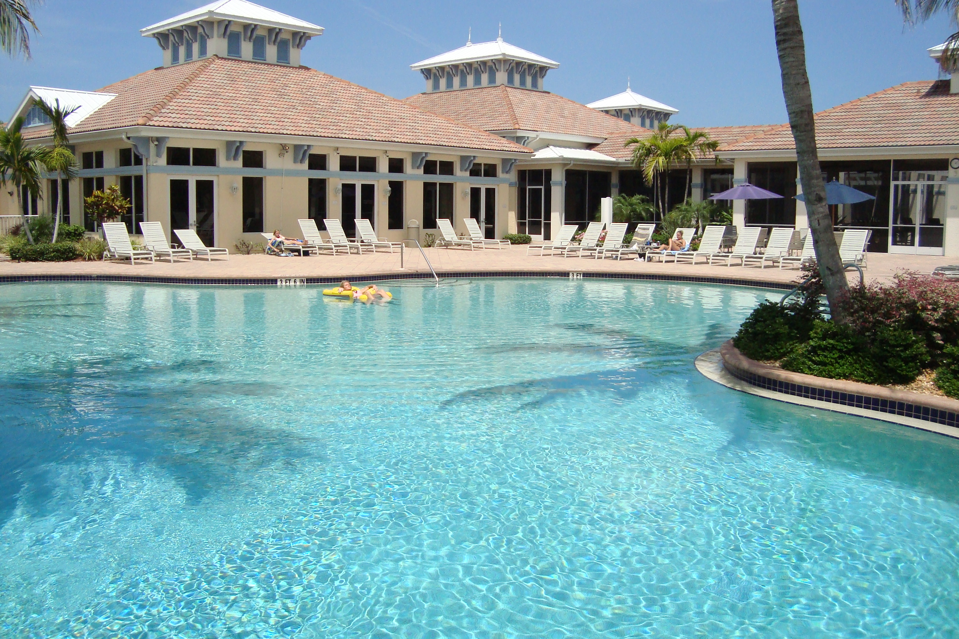 Pool and clubhouse at Bridgewater Bay in Naples, Florida.