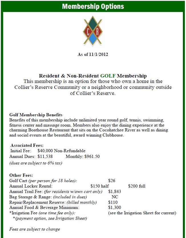 Membership Information for Colliers Reserve in Naples, Florida.