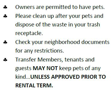 Pet policy standards for Forest Glen in Naples, Florida.