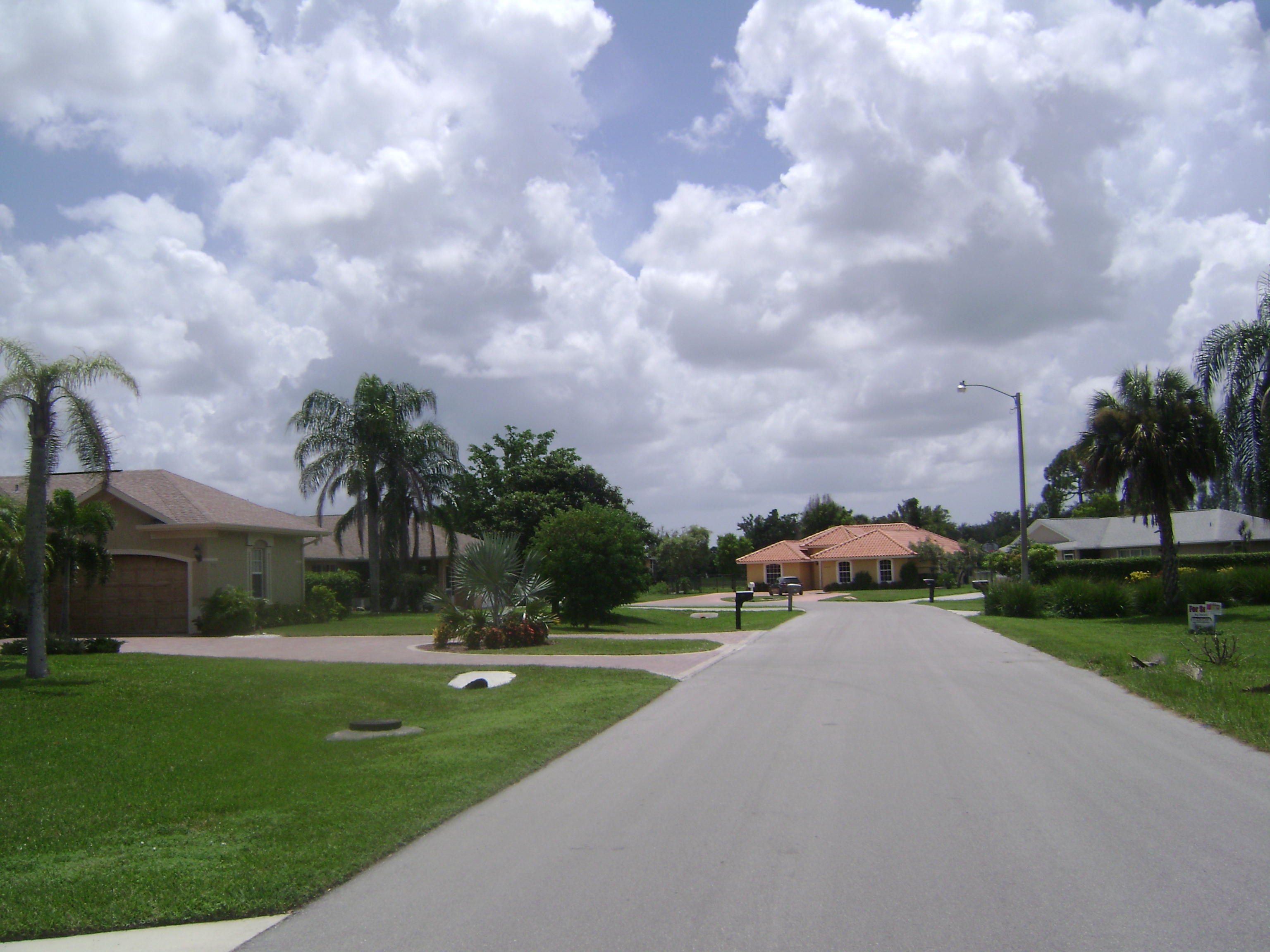 Residential street in Golden Gate City in Naples, Florida.