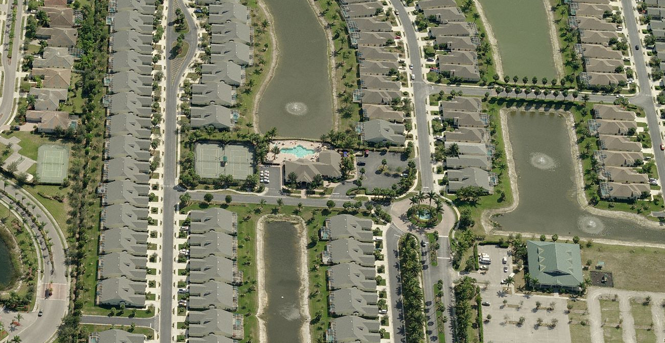 Birdseye view of Ibis Cove in Naples, Florida.