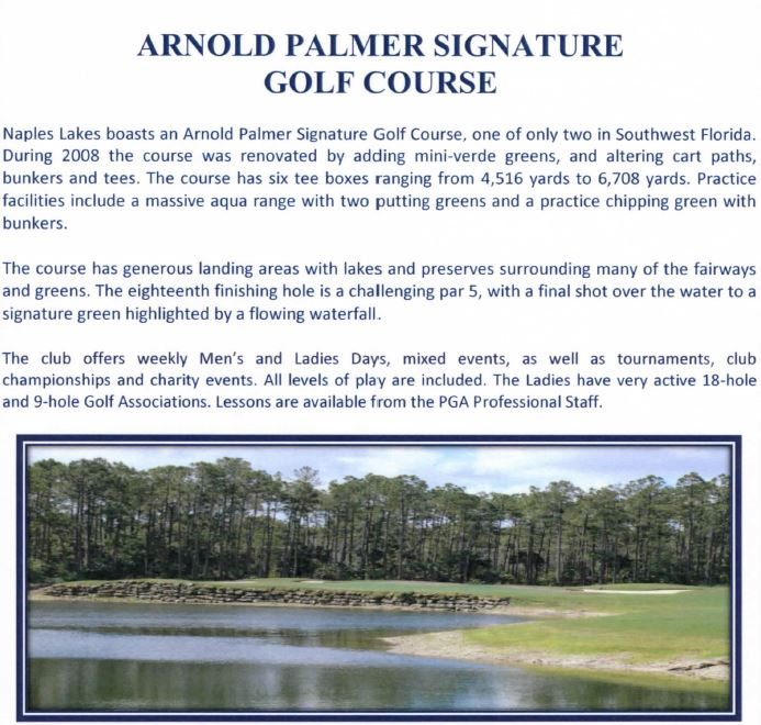 Golf course information for Naples Lakes in Naples, Florida.