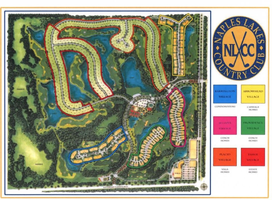 Map of Naples Lakes community in Naples, Florida.