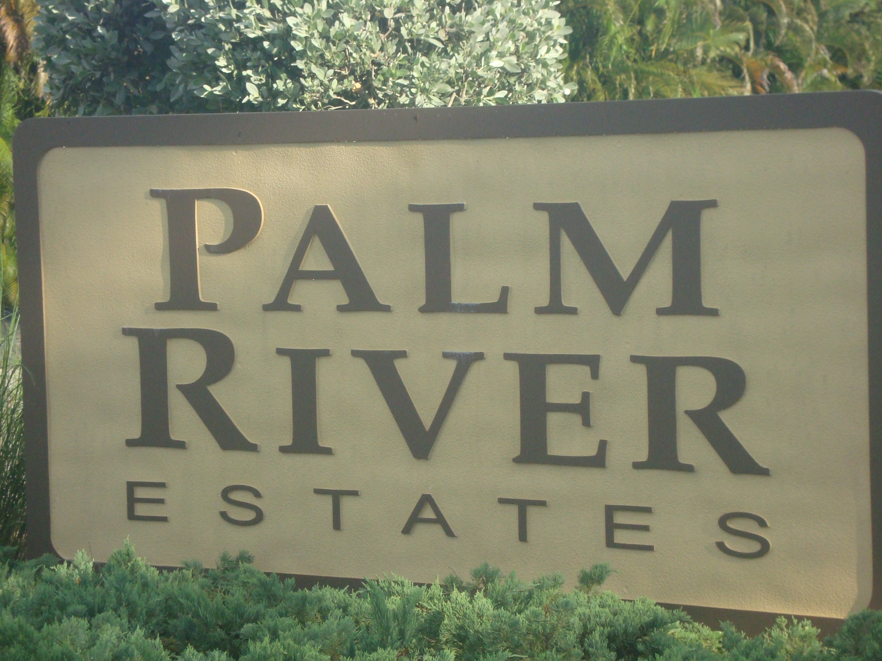 Sign at Palm River in Naples, Florida.