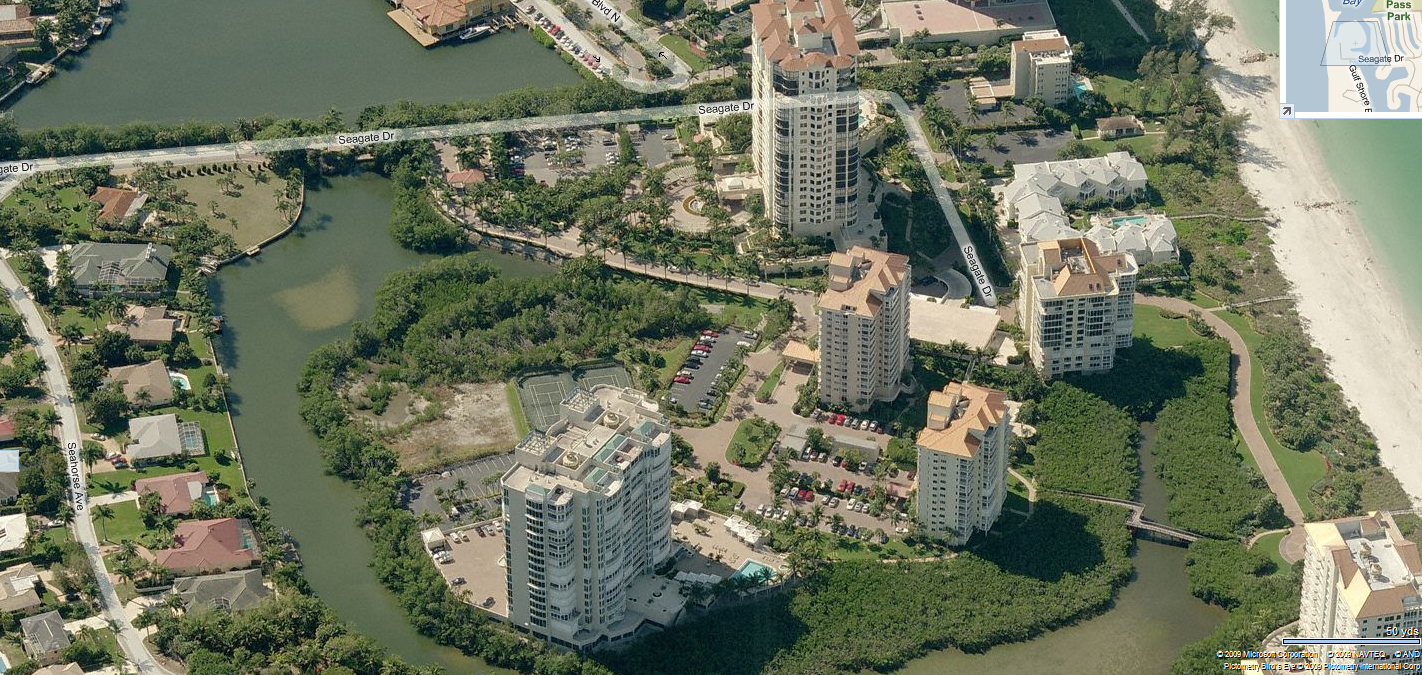 A birdseye view of Seagate in Naples, Florida.
