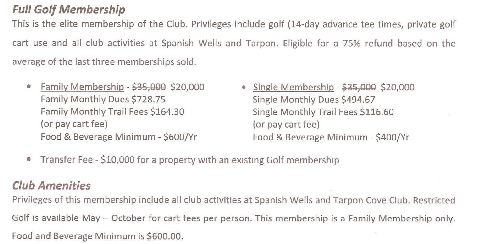 Membership information for Spanish Wells in Naples, Florida.