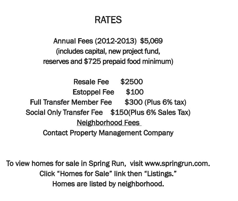 Membership rates for Spring Run in Bonita Springs, Florida.