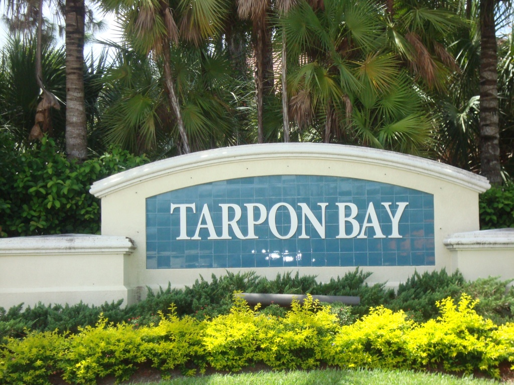 Sign at Tarpon Bay in Naples, Florida.