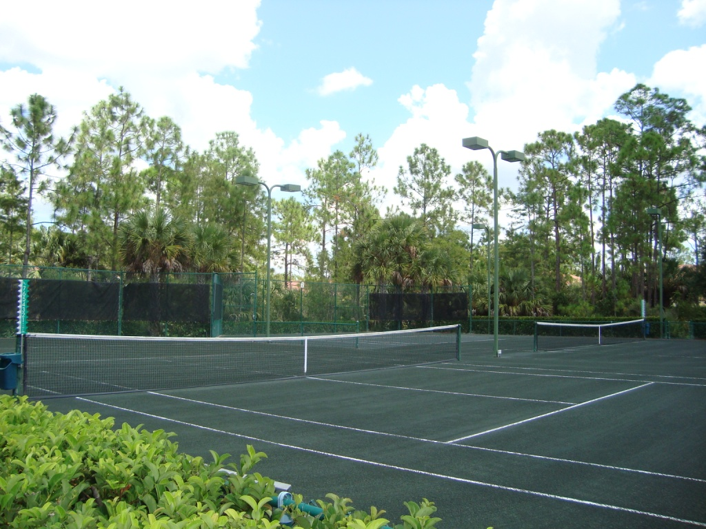 Tennis courts at Tarpon Bay in Naples, Florida.