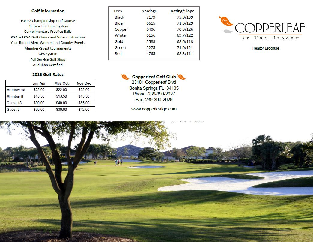 Golf information about Copperleaf at The Brooks in Naples, Florida.