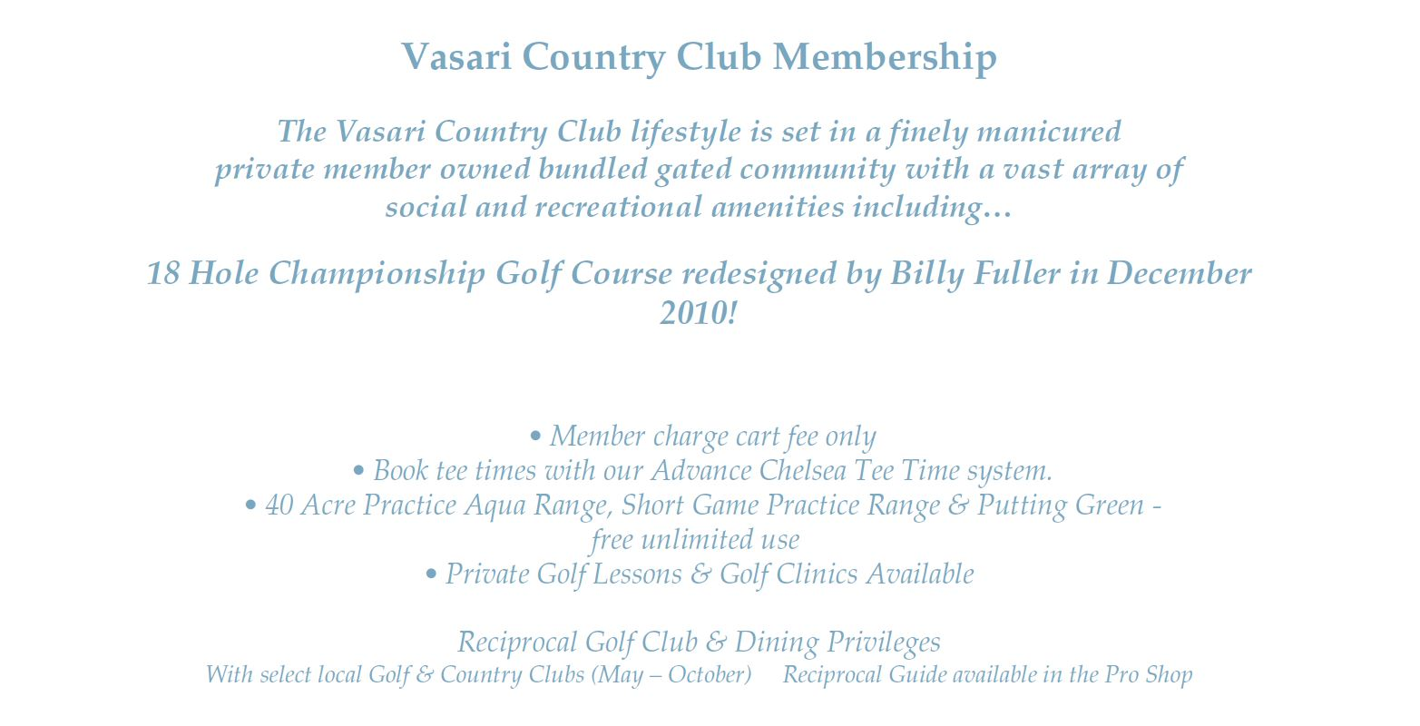 Membership information for Vasari In Naples, Florida.