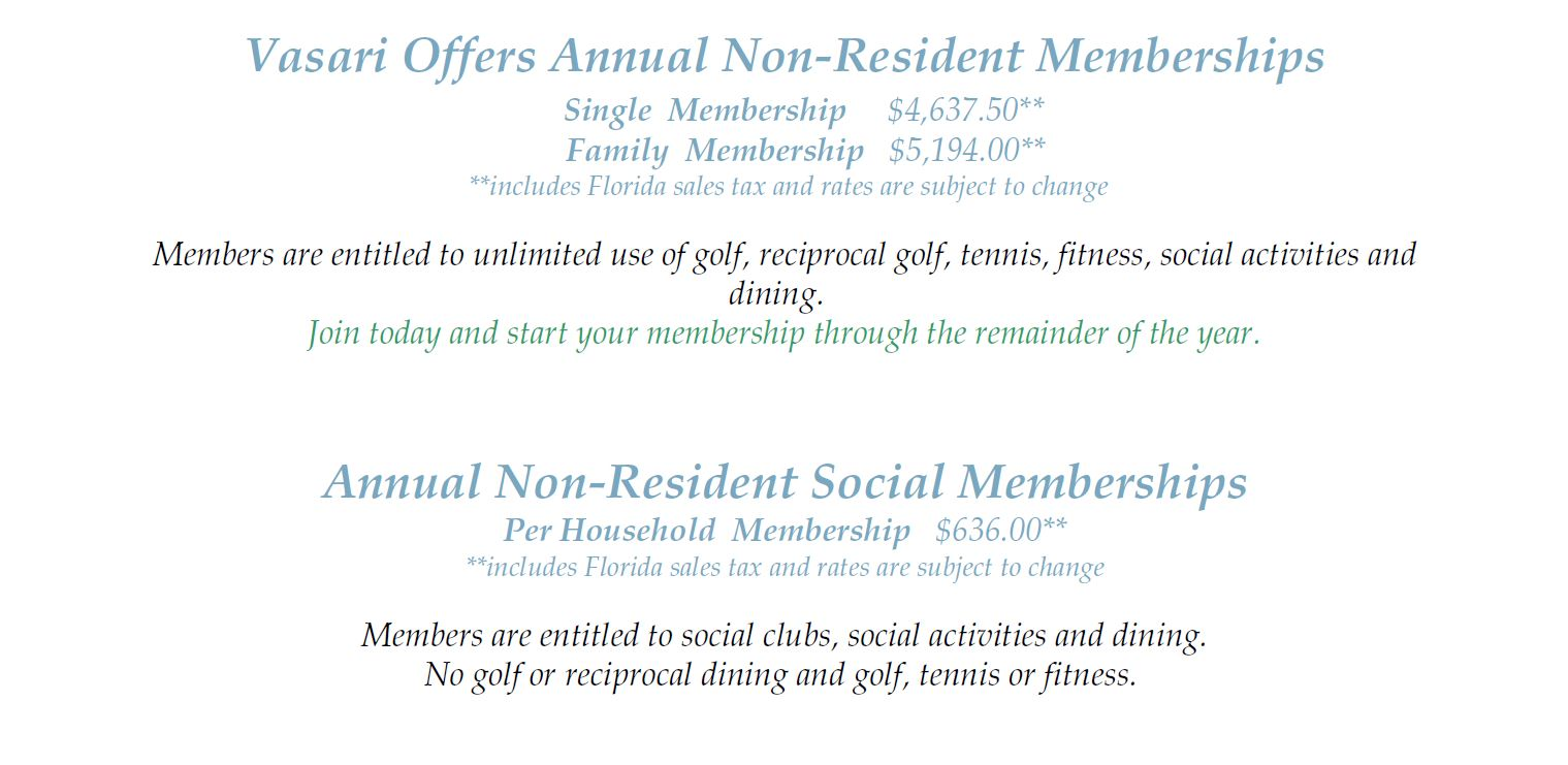 Non-Resident membership information for Vasari in Naples, Florida.