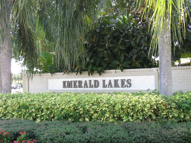 Sign for Emerald Lakes in Naples, Florida.