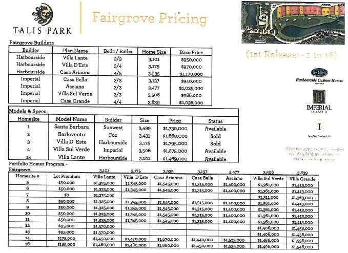 Fairgrove pricing in Talis Park in Naples, Florida.