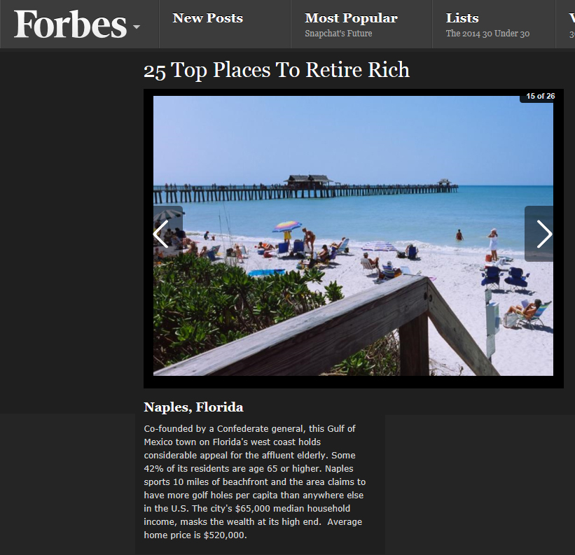 Forbes Lists Naples in Top 25 Ways to Retire