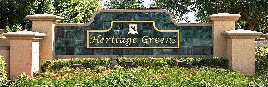 Sign at Heritage Greens in Naples, Florida.