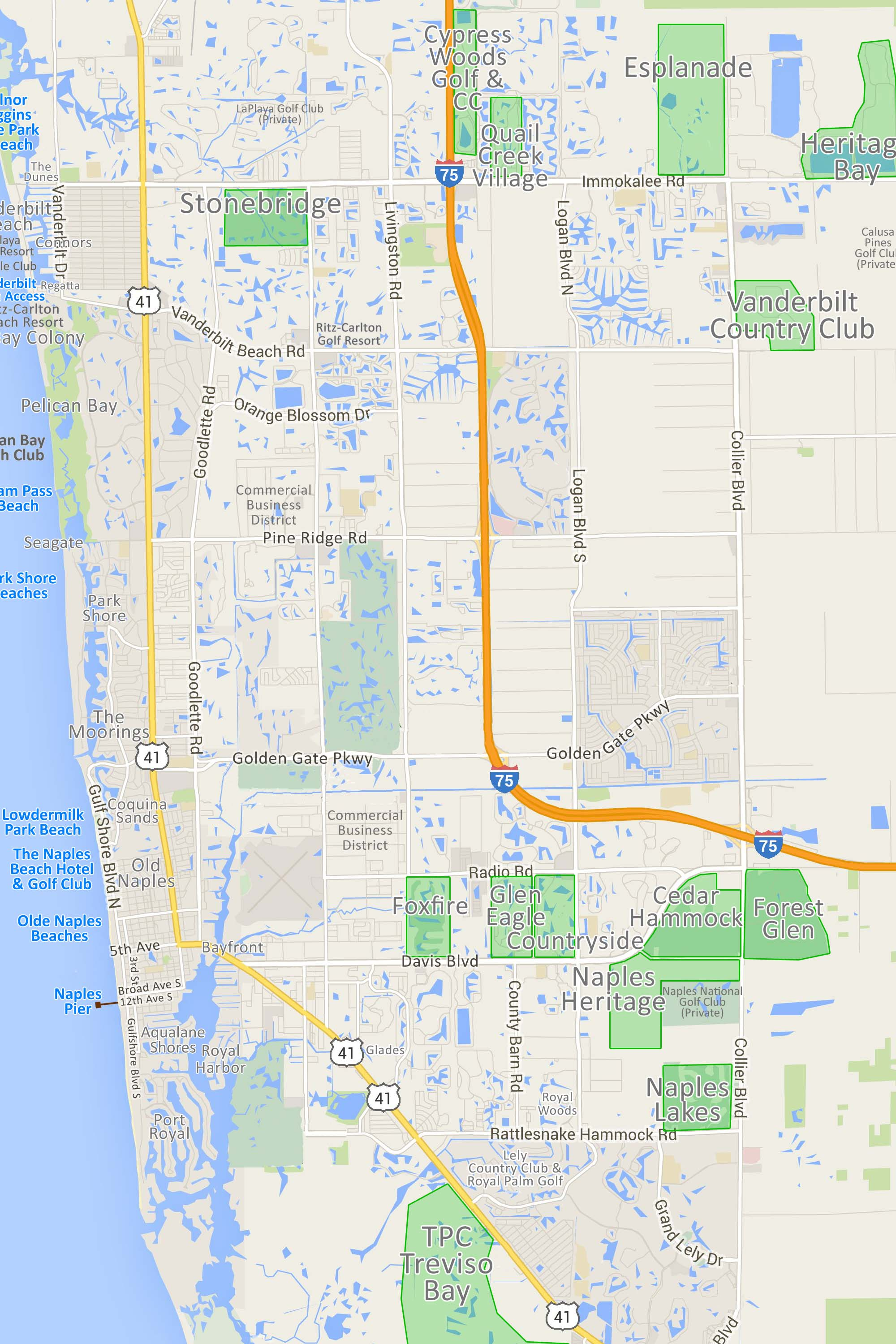 Bundled Golf Community Map Of Naples Fl Homes And Condos For Sale