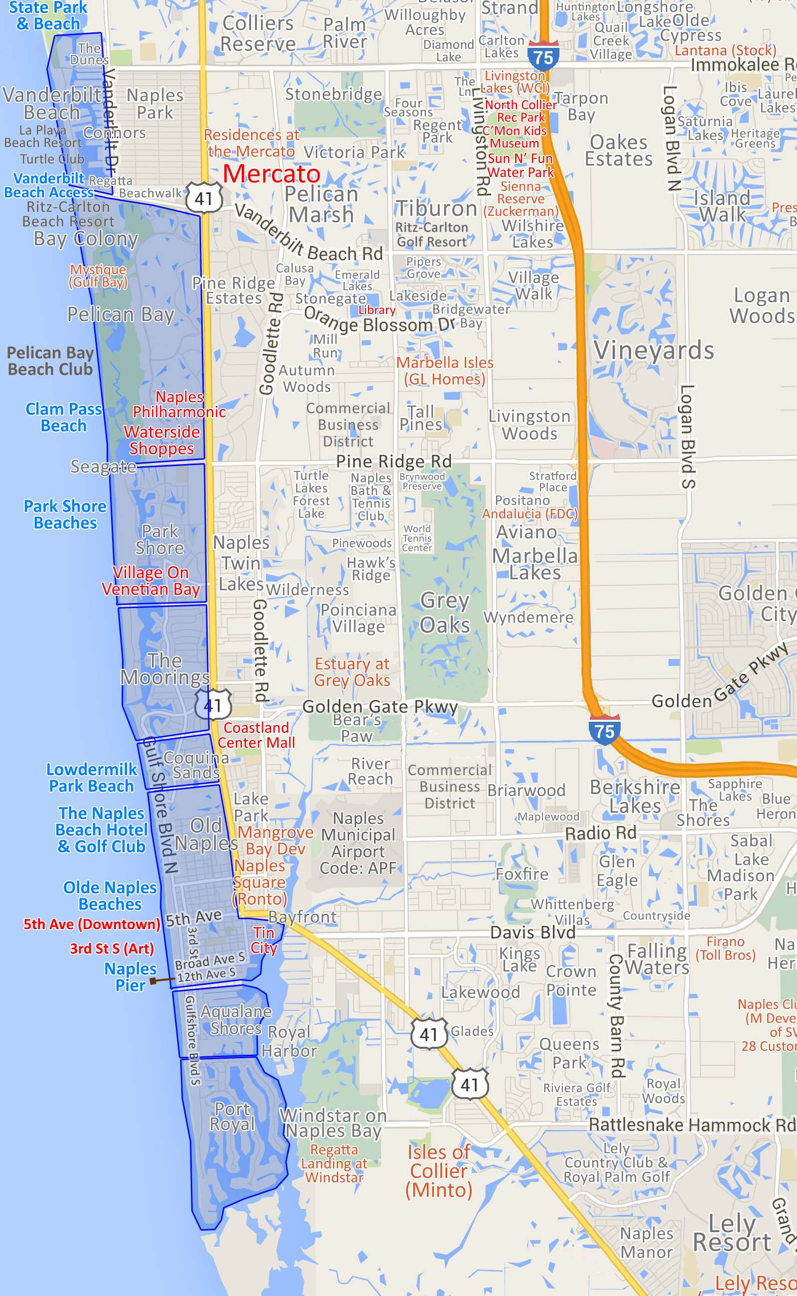 Waterfront Community Map Of Naples FL Homes And Condos For
