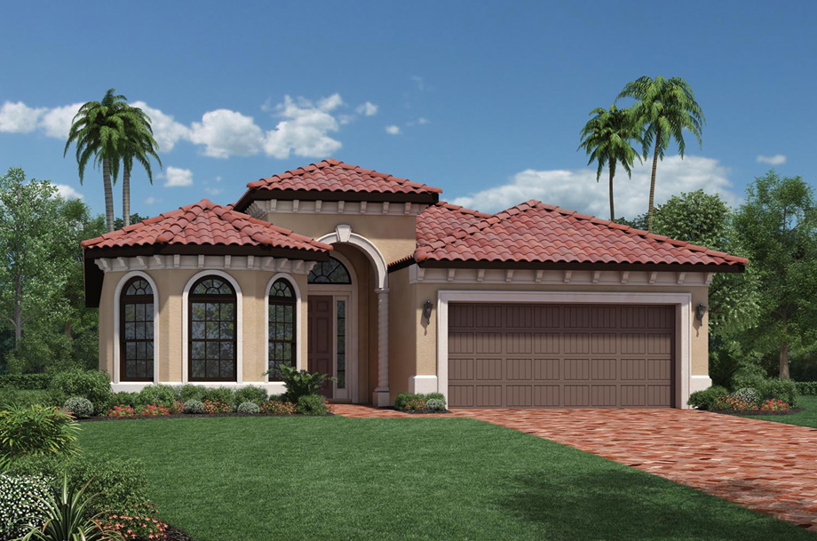 Cordova new construction spanish wells in naples fl for One floor house exterior design