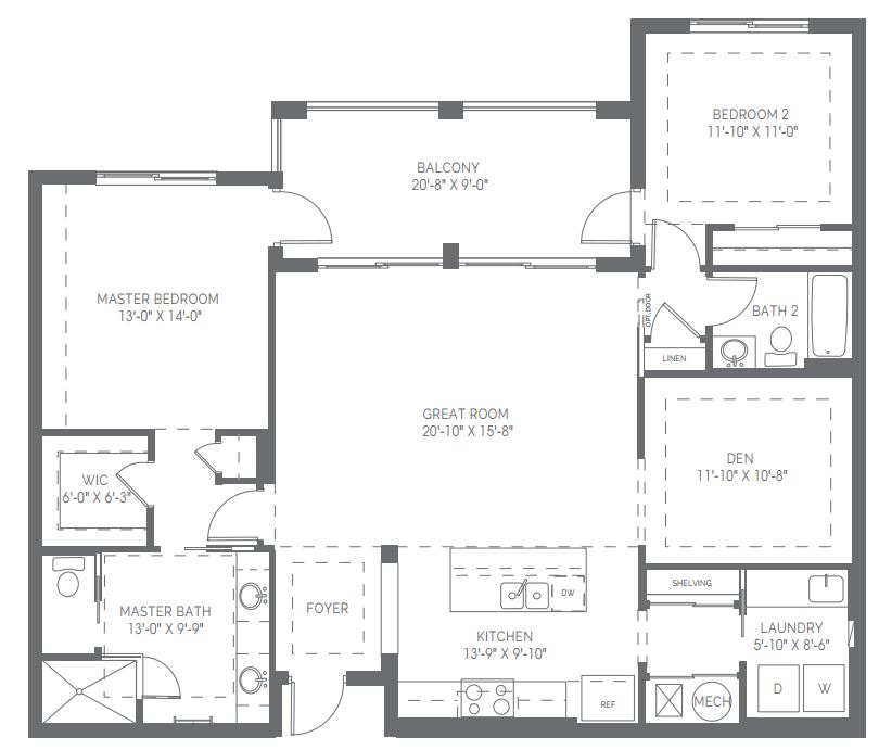 Ballard floor plan in Naples Square in Naples, Florida.