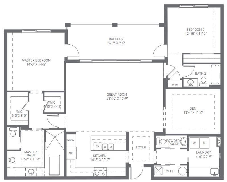 Preview of the Chelsea floor plan in Naples Square in Naples, Florida.