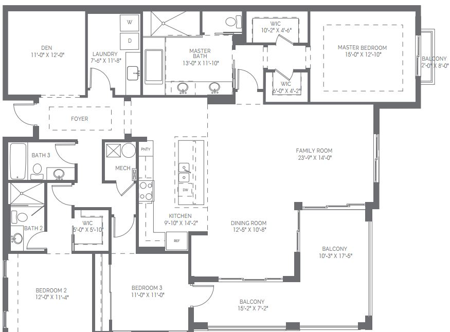 Preview for the Denison floor plan in Naples Square in Naples, Florida.
