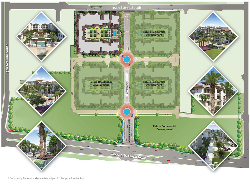 Site plan for Naples Square in Naples, Florida.