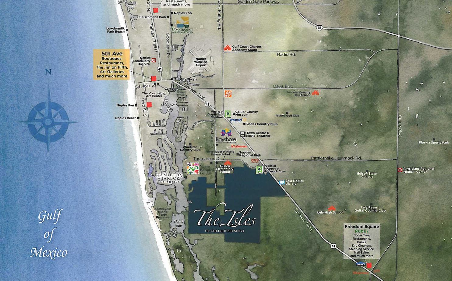 Map of the The Isles of Collier Preserve in Naples, Florida.