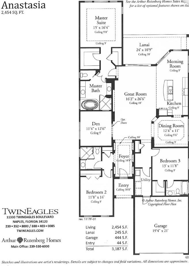 Floor plan in Twin Eagles in Naples, Florida.