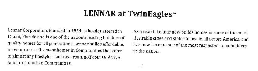 Lennar in Twin Eagles in Naples, Florida.