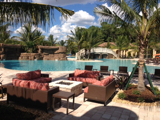 Pool deck at Treviso Bay in Naples, Florida.