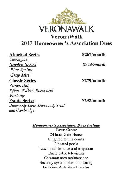 Homeowners association fees in Verona Walk in Naples, Florida.