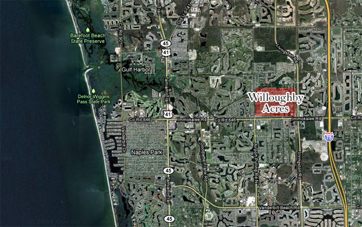 Map of Willoughby Acres in Naples, Florida.